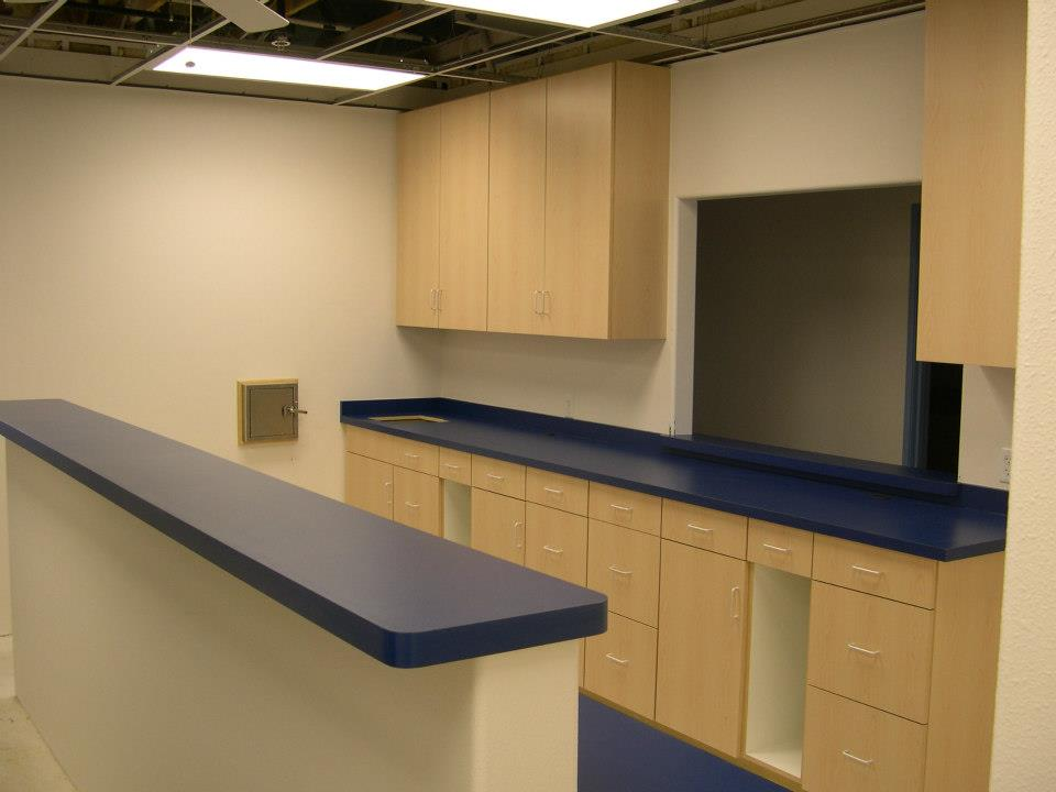 Custom Desks with laminate counters and custom cabinets